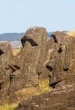 Statue Ile de Paques. Moaïs dans le Parc National de Rapa Nui, l'Ile de Paques.