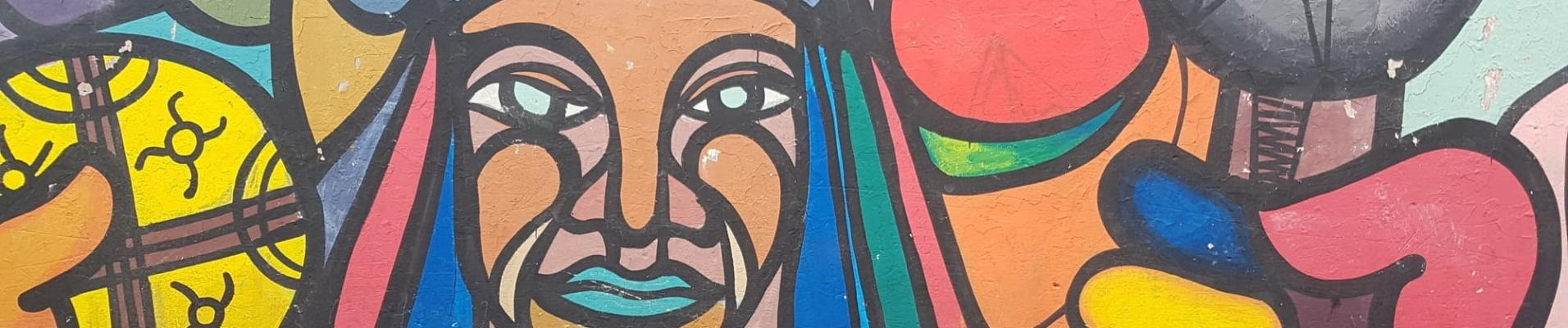 Peinture murale indien natif Chili. Vaccin Chili